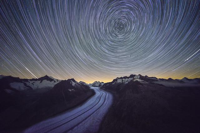 Aletsch Glacier: Startrail