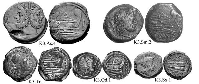 K3 Roman Republican Anonymous struck bronzes McCabe group K3, RRC 197-198B/1b and fractions. Peaked deck structure, value before prow, unkempt beard, bulbous prowstem. 25 gram As.