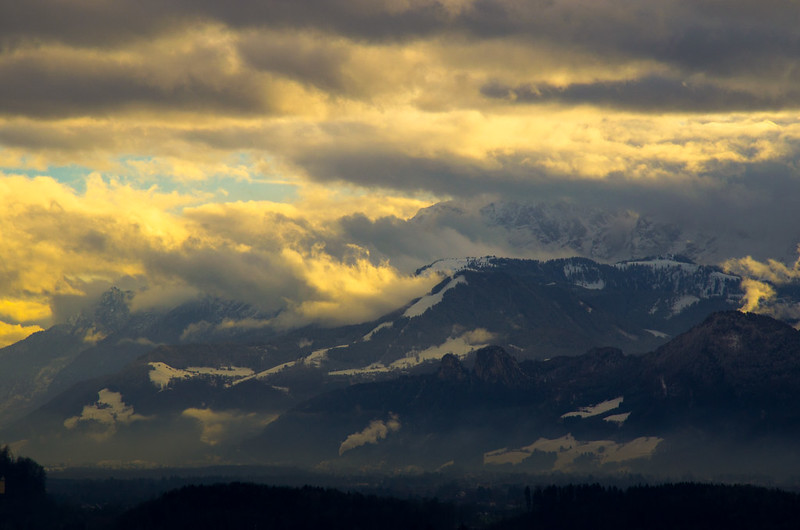 Gold in winter Alps