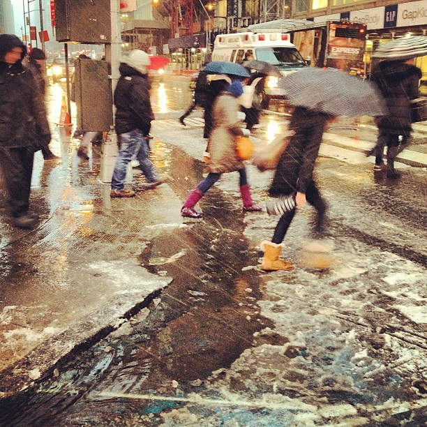 Rivers of slush running through Times Square #Nemo