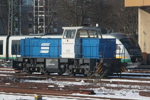 Regentalbahn diesel locomotive D03 at Regensburg Hbf