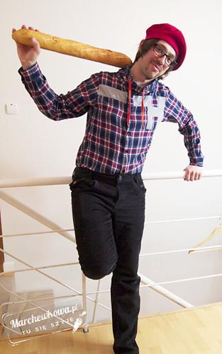 marchewkowa, blog, impreza, coco chanel, francja, przebranie, spódnica 115, Burda 10/2010, retro, vintage, szycie, krawiectwo, pan marchewka, czerwony beret, Vive la France