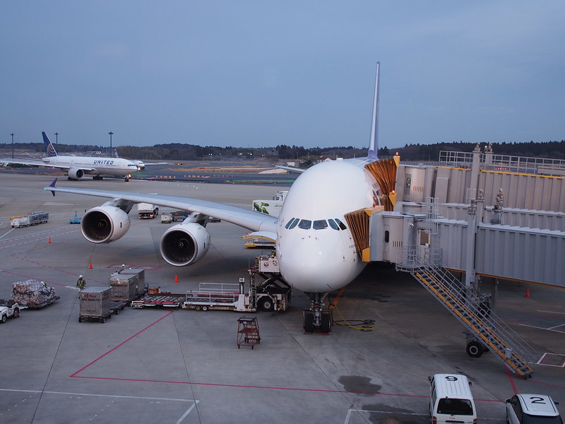 TG A380 at Narita Airport