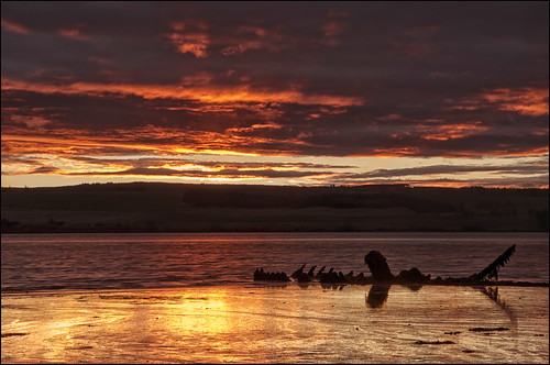 seascape beach sunrise landscape scotland boat highlands ship scenic scottish wreck cromarty firth reflectionnikon d7000