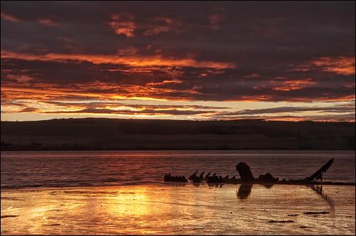 seascape beach sunrise landscape scotland boat highlands ship scenic scottish wreck cromarty firth reflectionnikon d7000