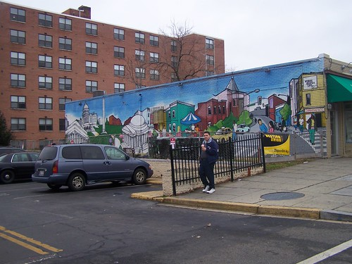 Mural showing the local and the national, 14th Street NW, North Columbia Heights