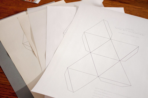 printing template on different shapes of white and grey paper