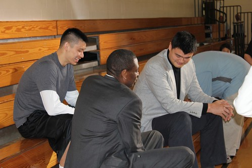 February 14th, 2013 - Yao Ming, Dikembe Mutombo and Jeremy Lin prepare for their WildAid shoot in Houston