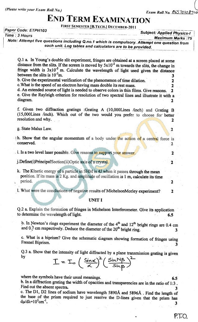 GGSIPU Question Papers Third Semester – End Term 2011 – ETPH-103