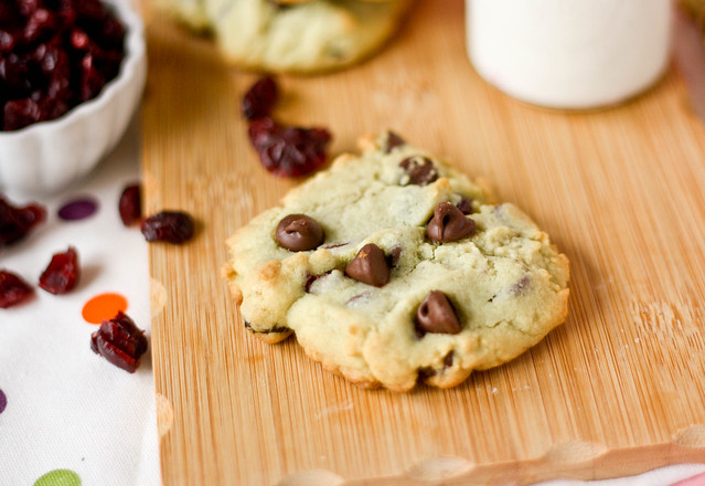 close up of Cranberry Chocolate Chip Pistachio Pudding Cookies