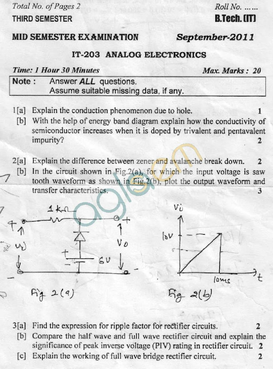 DTU Question Papers 2011 - 3 Semester - Mid Sem - IT-203