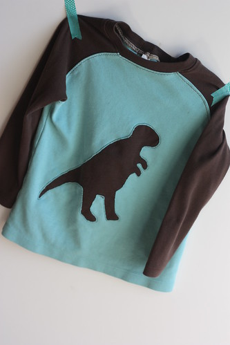 SFB Raglan with reverse applique dinosaur