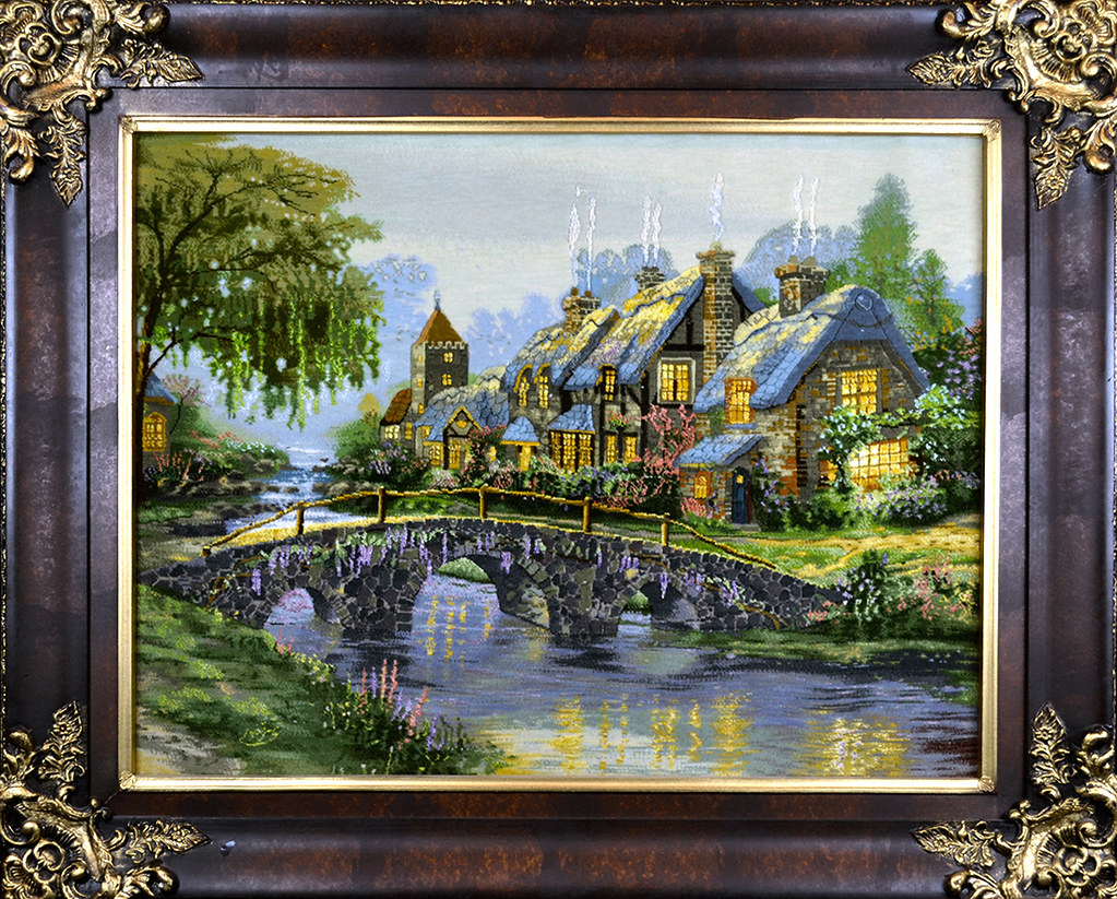 Tableau-Hand-Made-Persian-Thomas-Kinkade-cottage