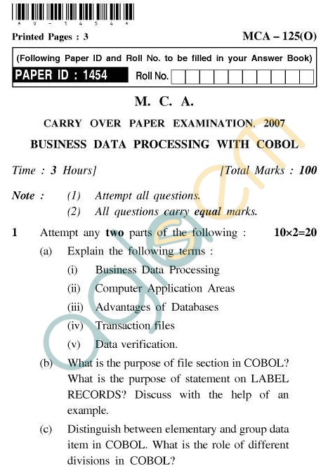 UPTU MCA Question Papers - MCA-125(O) - Business Data Processing with Cobol