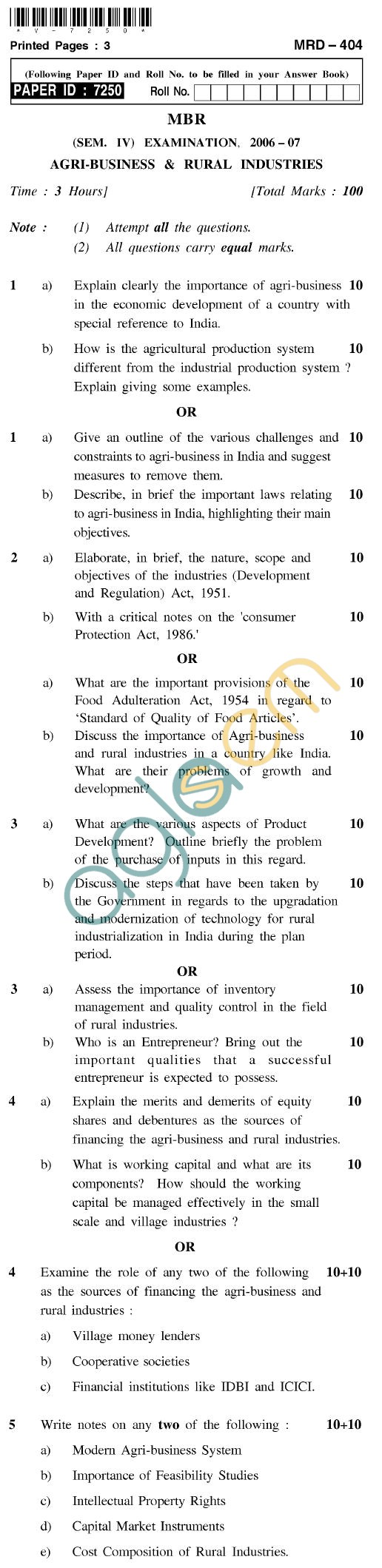 UPTU MBR Question Papers - MRD-404-Agri-Business & Rural Industries