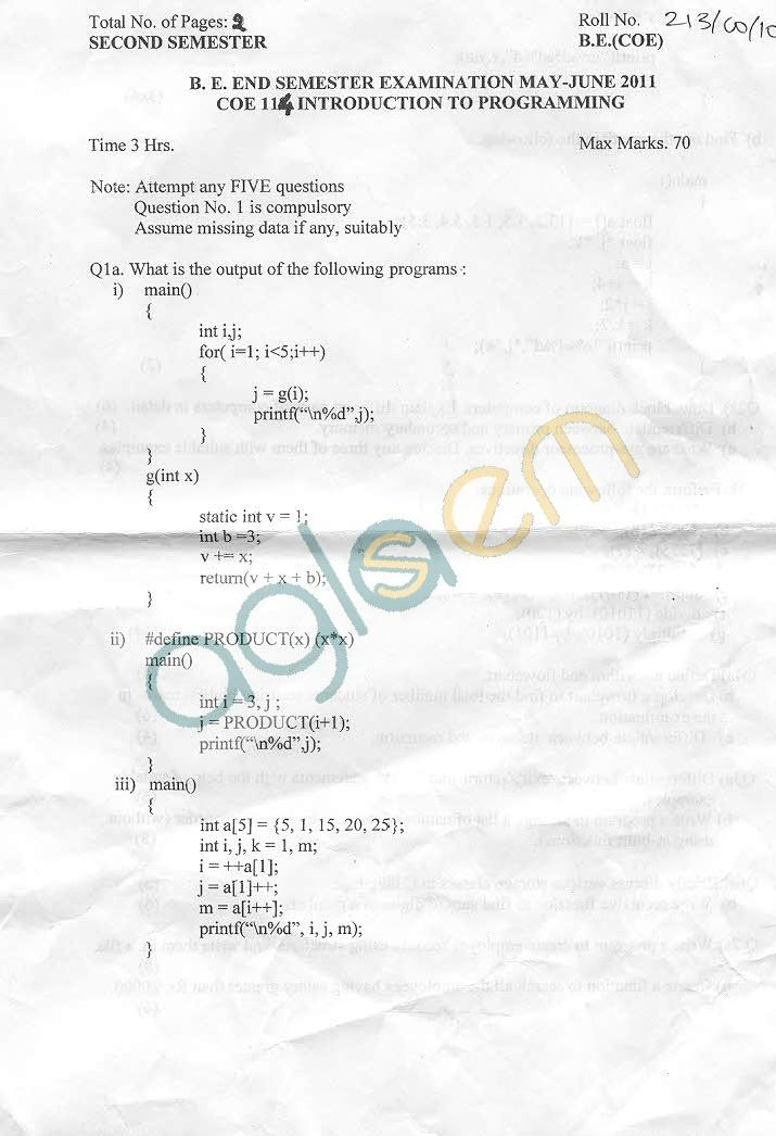 NSIT: Question Papers 2011 – 2 Semester - End Sem - COE-114