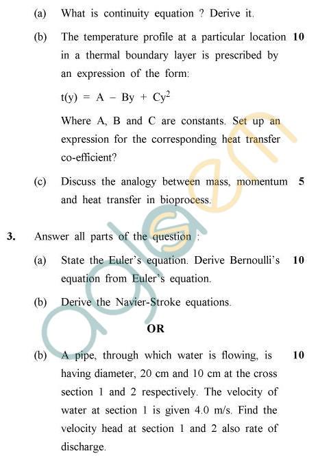 UPTU B.Tech Question Papers -BT-805 - Transport Phenomena