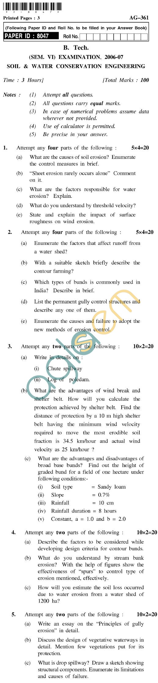 UPTU B.Tech Question Papers - AG-361 - Soil & Water Conservation Engineering