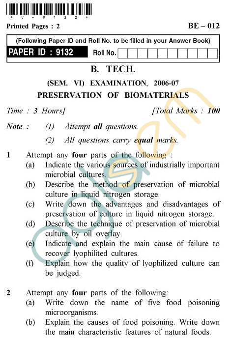 UPTU B.Tech Question Papers - BE-012 - Preservation of Biomaterials