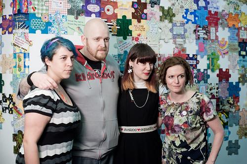Crafty Avengers L- R: Deadly Knitshade (Lauren O'Farrell), Mr X Stitch (Jamie Chalmers), Craftivist Collective Founder (Sarah Corbett), CraftBlogUK founder (Hilary Pullen)