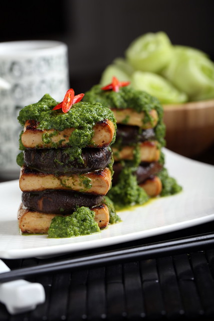 Tofu and Shiitake Stack with Bok Choy-Ginger Puree