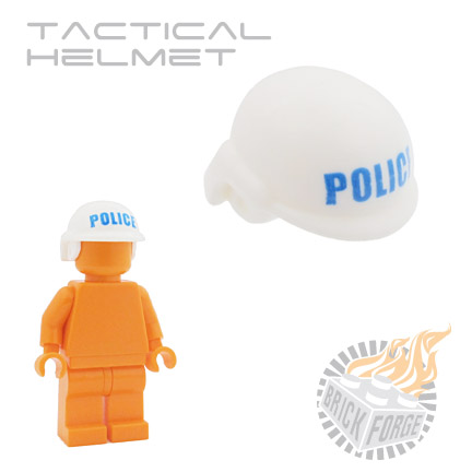 Tactical Helmet - White (blue POLICE print)