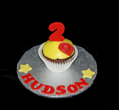 2nd birthday personalized cupcake for fire truck themed party