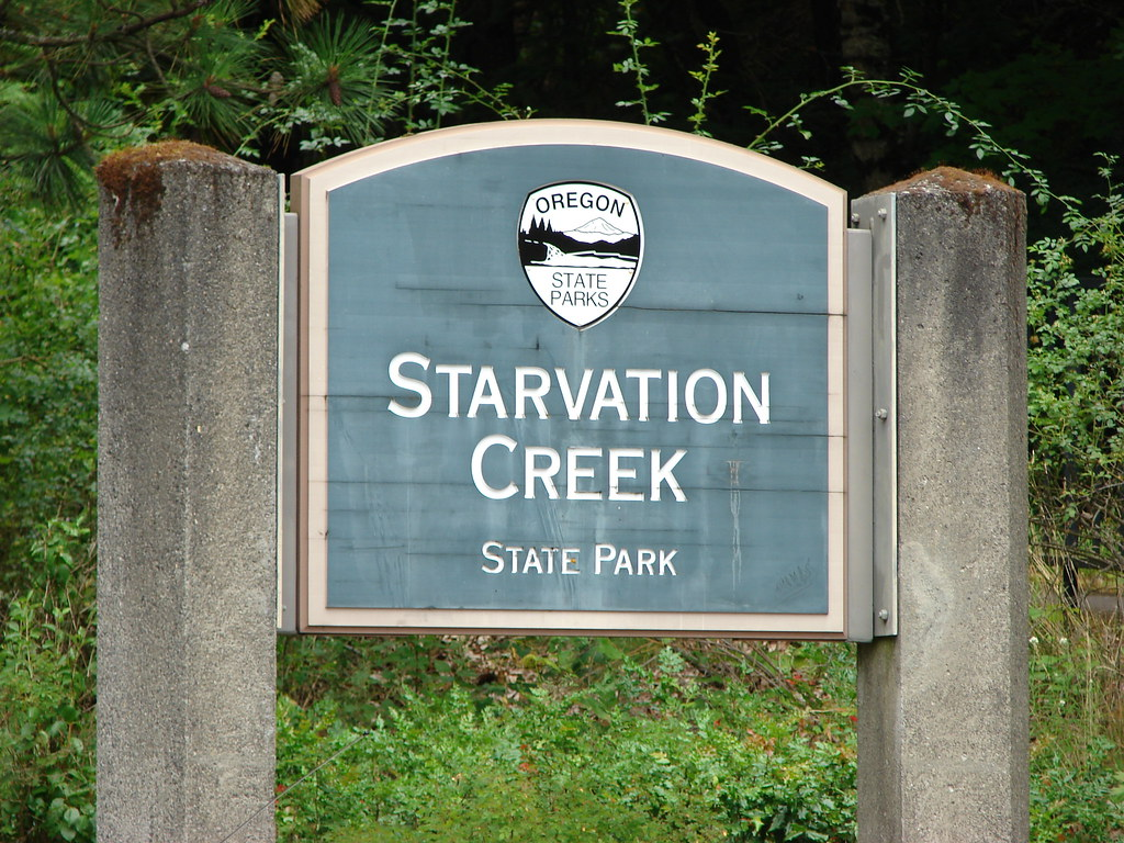Starvation Creek State Park sign