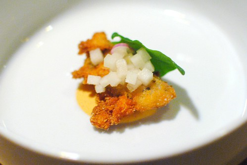 Fried Oyster – Kimchi Ranch Dressing – Asian Pear Mignonette – Sea Spinach