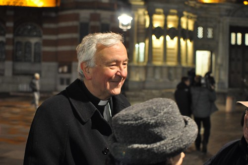 Archbishop Nichols celebrates with the faithful outside Westminster Cathedral