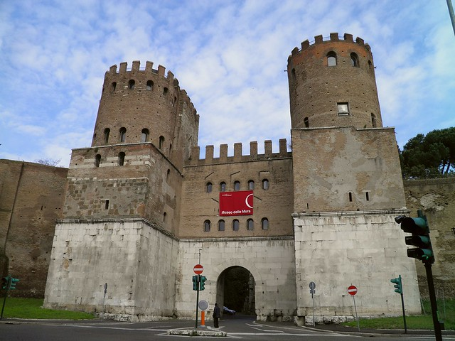 The Porta Appia (now Porta San Sebastiano), the most imposing of the gates in the Aurelian walls, built in the last quarter of 3rd century AD, Via Appia