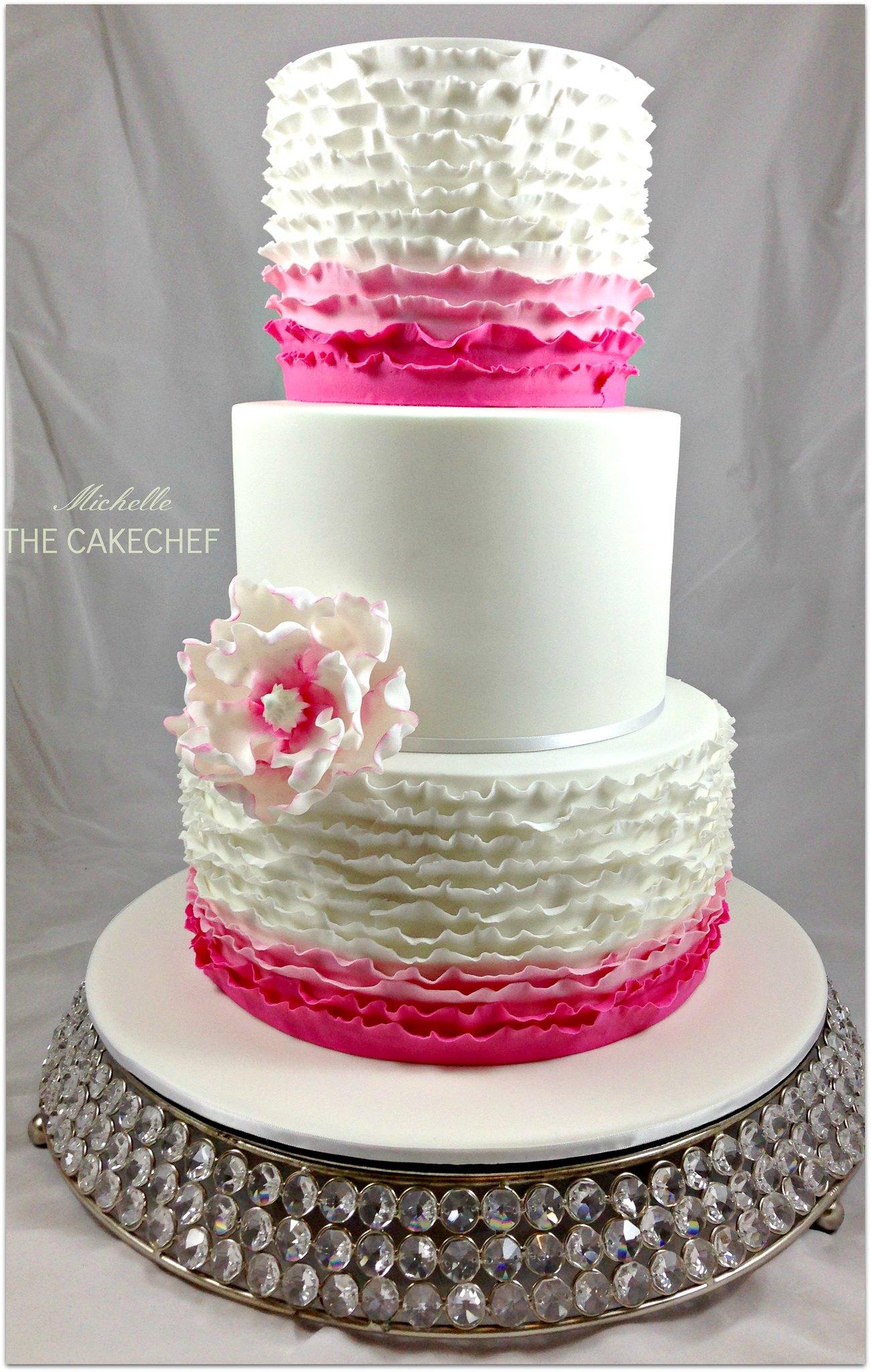 fuschia pink ruffle Wedding cake