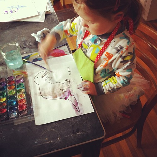 painting dinosaurs in Dino pjs and a tutu... totally normal Sunday morning @katielicht #widn