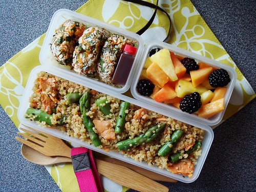 Spring Bento with Smoked Salmon Asparagus Quinoa, Sweet Potato Croquette, Fruit Salad