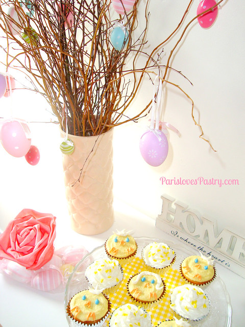 Easter Blueberry Cupcakes - Little Chicks