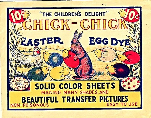 Vintage 1930s Chick Chick Easter Egg Dye original package . Why dye eggs for Easter, If they've hatched?