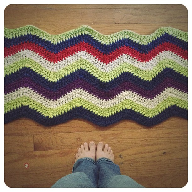 My chevron afghan so far... a little wonky (not even close to perfect) but very comfy.