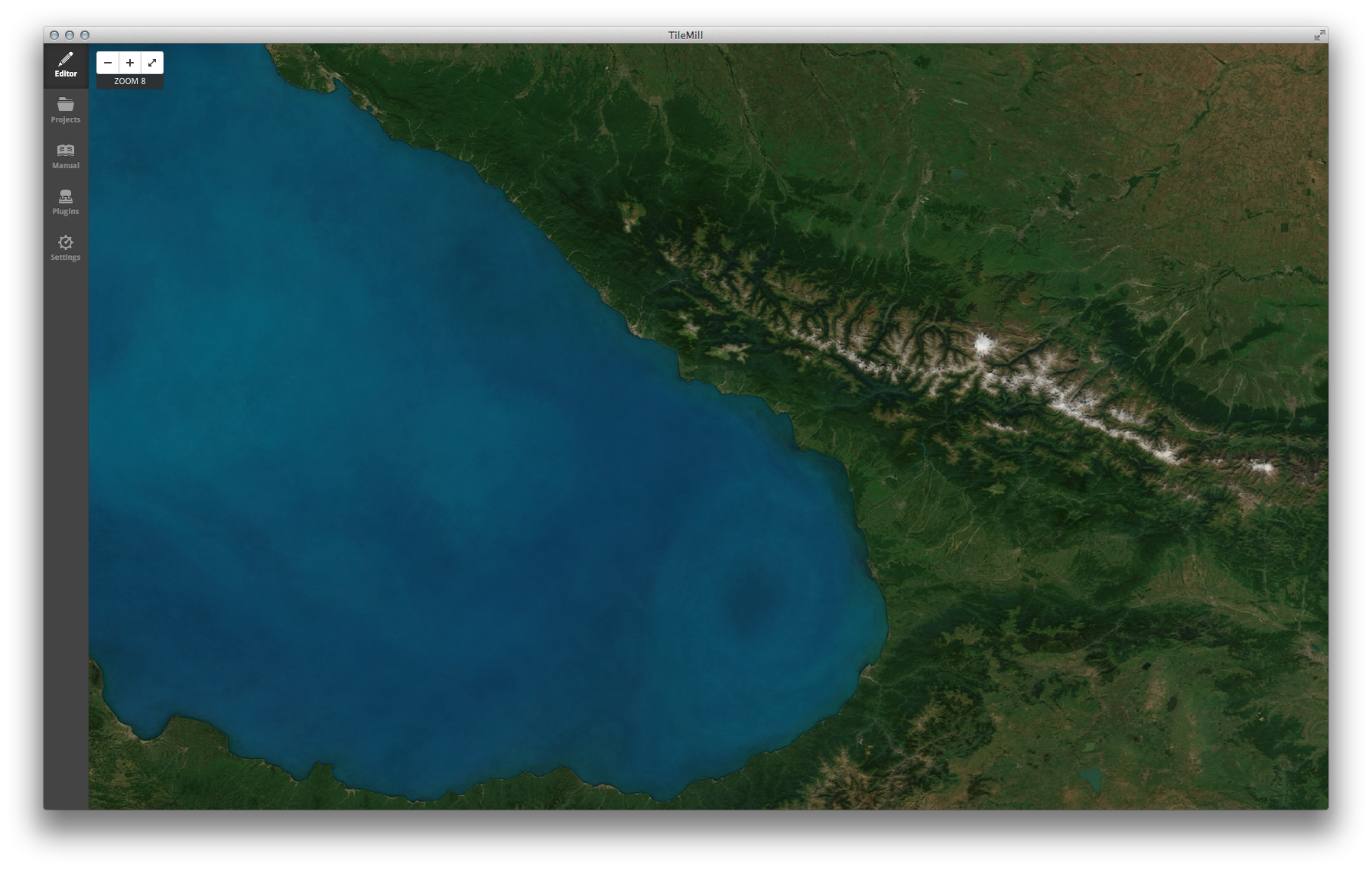 The eastern end of the Black Sea (latitude 42, longitude 40)