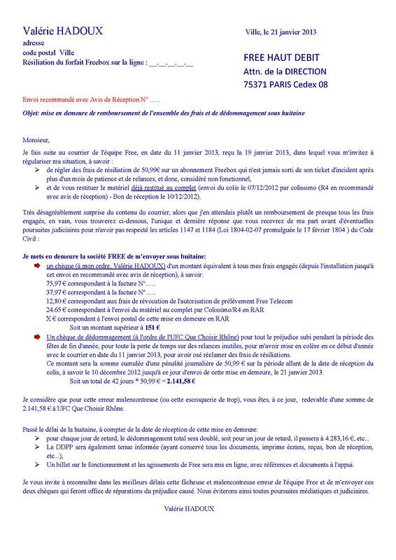 Free - ma lettre en réponse à leur frais de résiliations - 21 janvier 2013