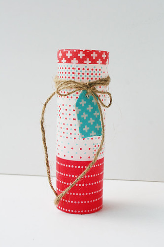 Upcycled-washi-tape-covered-plastic-bottle