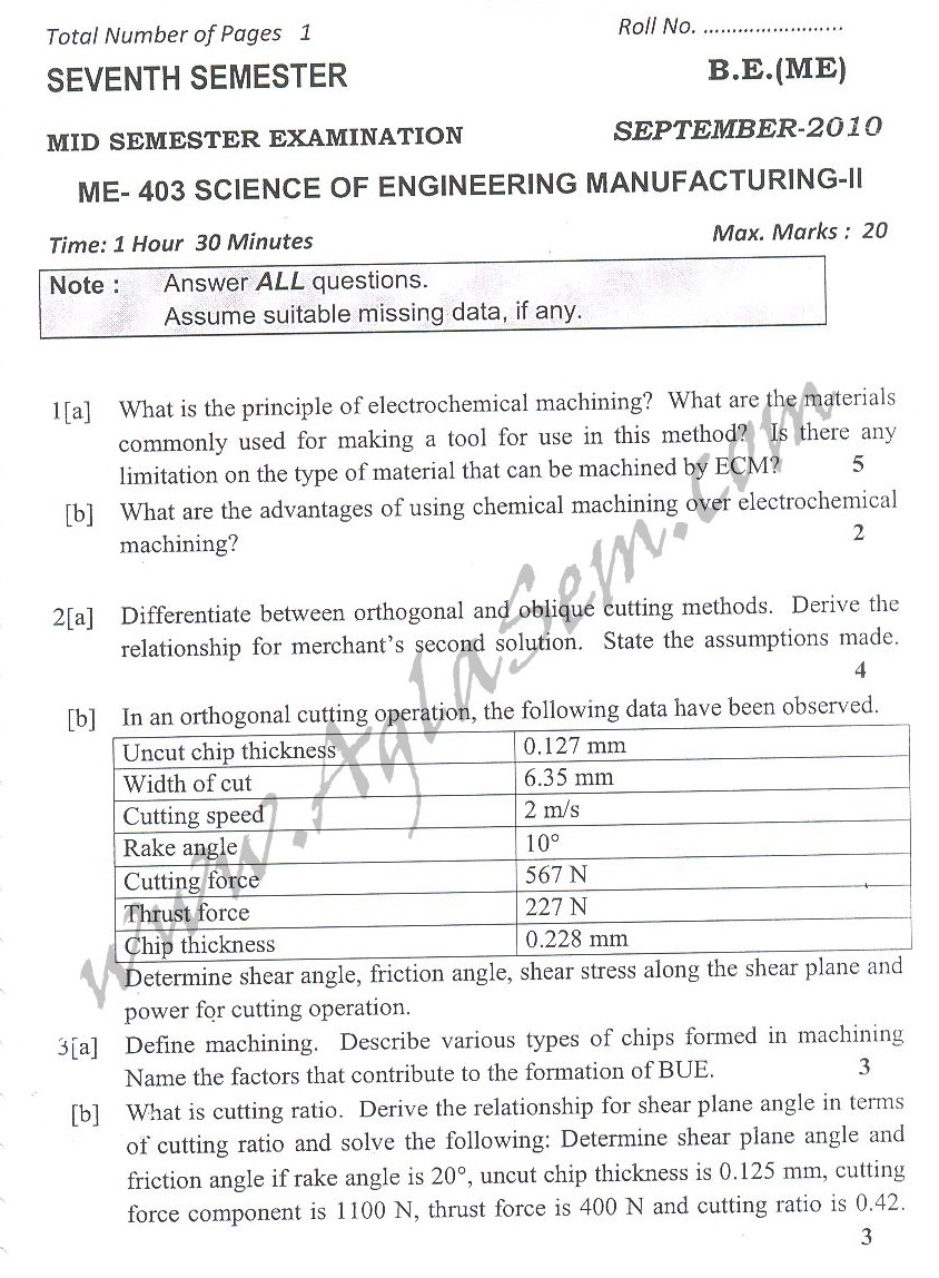 DTU Question Papers 2010 – 7 Semester - Mid Sem - ME-403