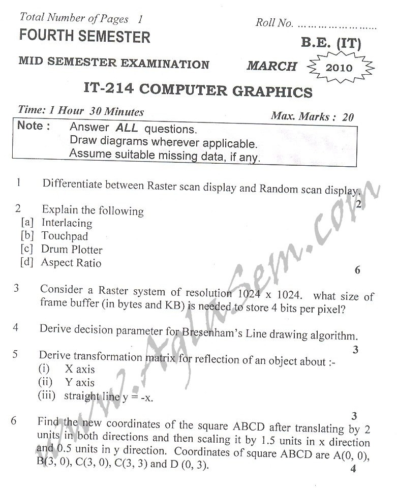 DTU Question Papers 2010 – 4 Semester - Mid Sem - IT-214