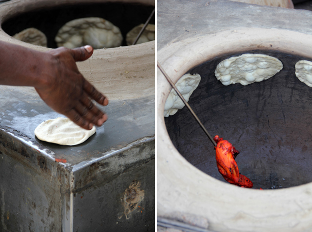 Chicken and roti prepared in the tandoor clay oven