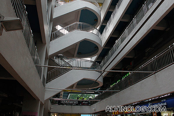 Iconic spiral staircase in the middle of the building