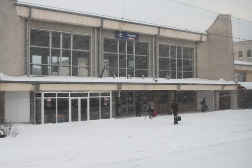 Adjud railway station covered with snow