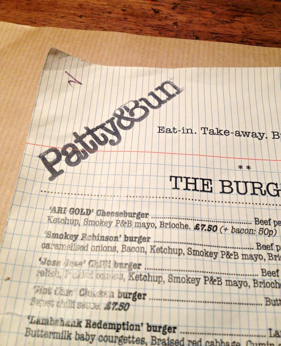 patty and bun menu