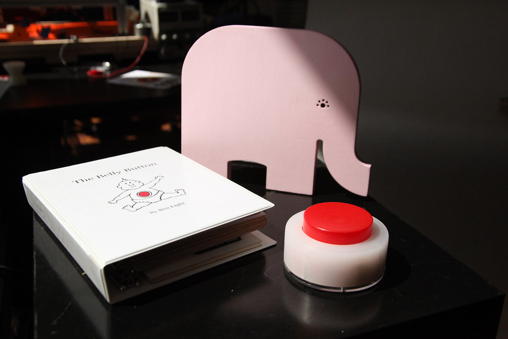 Book, Elephant, and Button