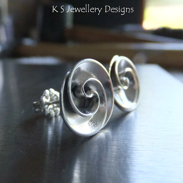 Swirl Studs - Sterling Silver Earrings (commission)