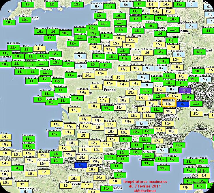 températures maximales très douces du 7 février 2011 météopassion