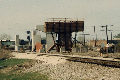 Construction of the Chicago Transit Authority orange line rapid transit to Midway Airport.  Chicago Illinois.  May 1989. by Eddie from Chicago